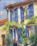 France House with Blue Shutters