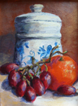 Fruits & Other Foods Still Life with Grapes & Orange Oil Painting